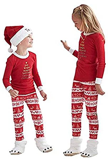 Q Y Christmas Kids Mom Dad Two Piece Striped Matching Family Pajama Set  Sleepwear Outfits Kids 2T d70baff2b