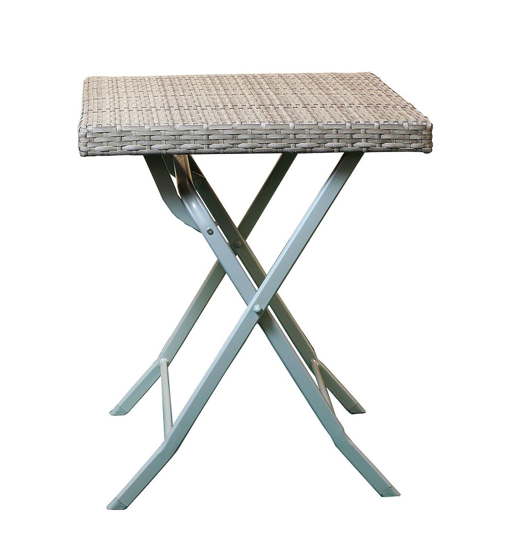AVANTI TRENDSTORE - Classic - Tavolo pieghevole da giardino, struttura in metallo con piano tavolo in Ecorattan di colore marrone, dimensioni: LAP 60x70x60 cm