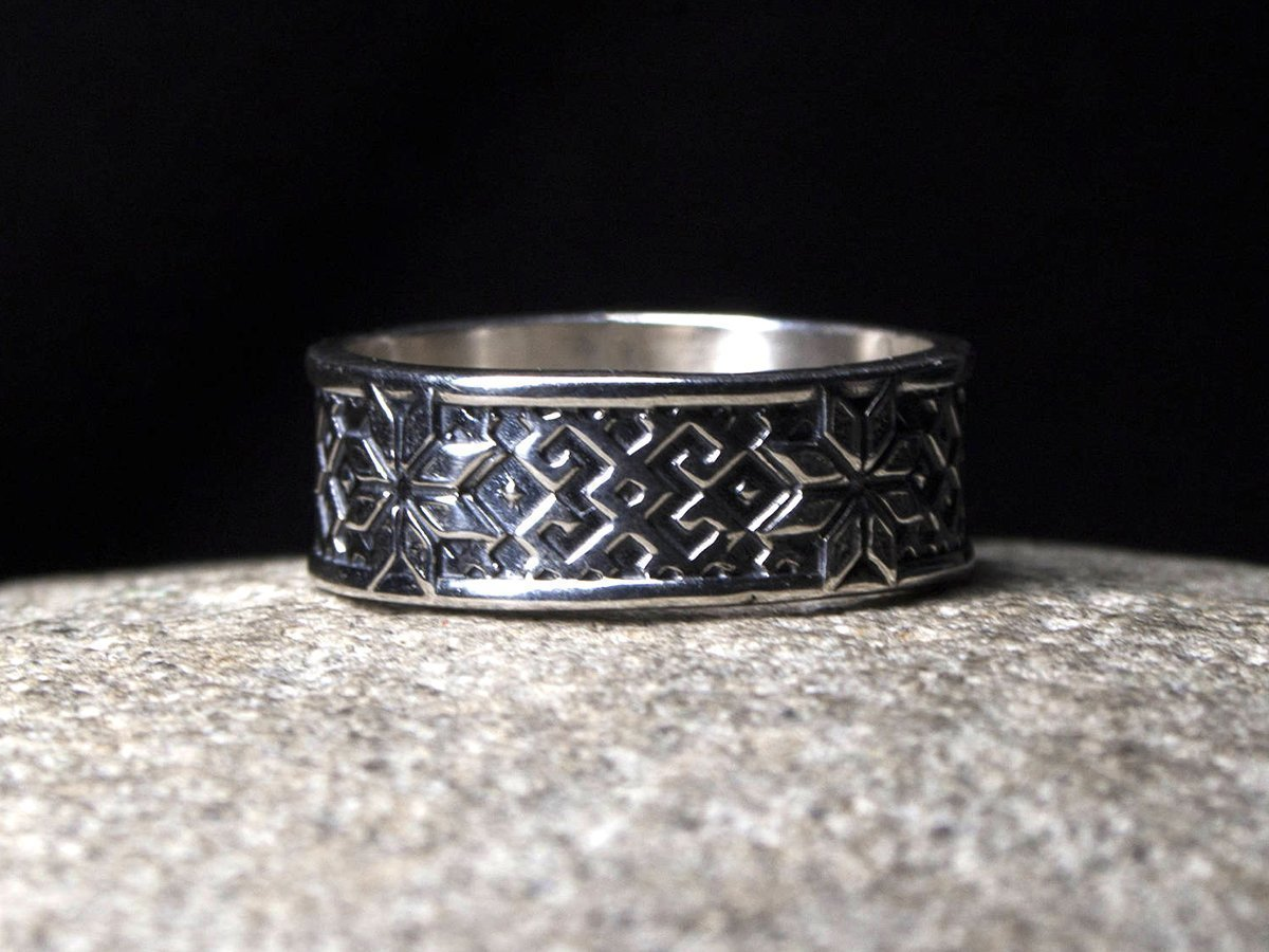 Alatyr Viking Ring Sterling Silver Wedding Band Celtic Rings