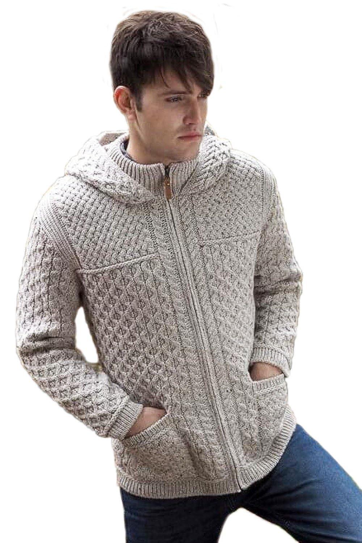 West End Wool Hooded Zip-Up Irish Sweater Coat