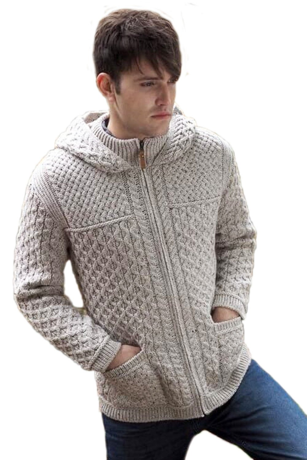 West End Knitwear Merino Wool Hooded Zip-Up Irish Sweater Coat (Medium, Oat)