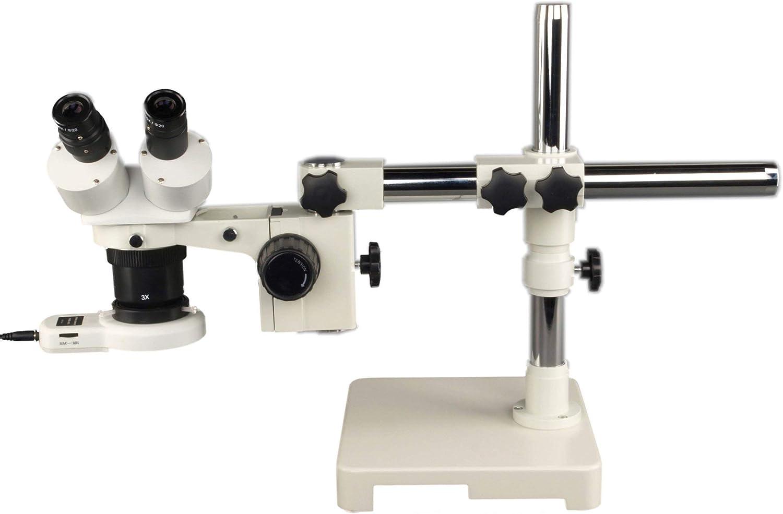 OMAX 10X-20-30-60X Binocular Single-Bar Boom Stand Stereo Microscopewith 54 LED Ring Light