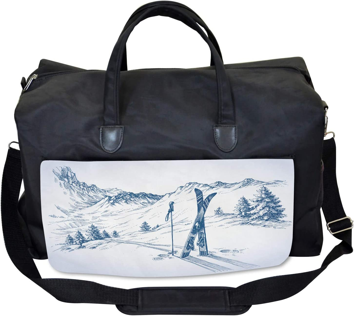 Ambesonne Winter Gym Bag Large Weekender Carry-on Ski Sport Mountain View
