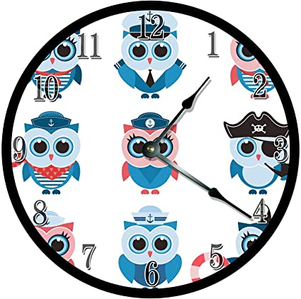 Amazoncom 128 Buyloii Cute Baby Sailor Owls Drawing Clock Kids