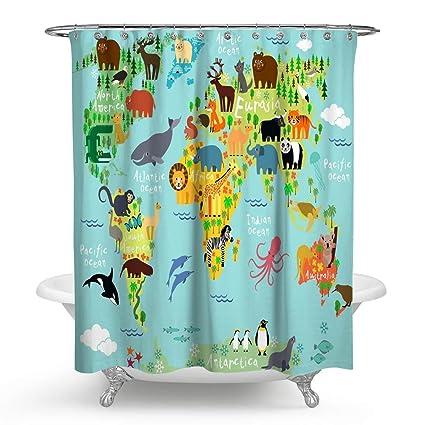 Amazon Com Huakz Kids Like Animals World Map Shower Curtain Cartoon