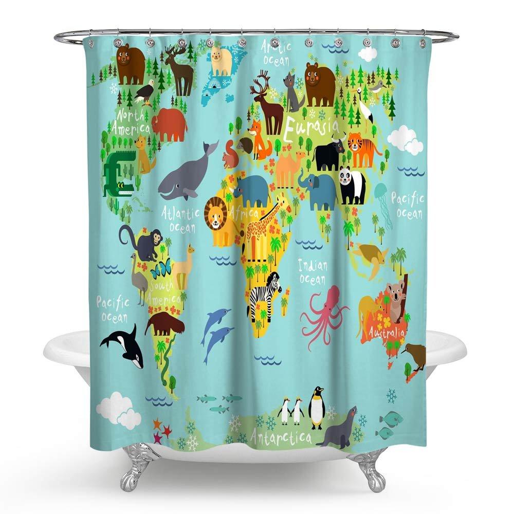 Huakz Kids Like Animals World Map Shower Curtain Cartoon Wildlife Continent Forest Bathroom Decor Polyester Fabric Blue Bath Shower Curtain 70 x 70 Inch