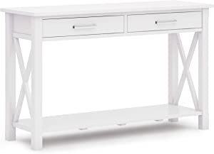 SIMPLIHOME Kitchener SOLID WOOD 47 inch Wide Contemporary Console Sofa Table in White with Storage, 2 Drawers and 1 Shelf, for the Living Room Entryway and Bedroom