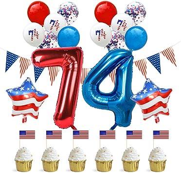 Amosfun Fiesta de Día de la Independencia Juego de Globos Bandera Americana Cupcake Toppers Fiesta de Globos de Lentejuelas Rojas y Azules (1 Juego 74 Globos): Amazon.es: Juguetes y juegos