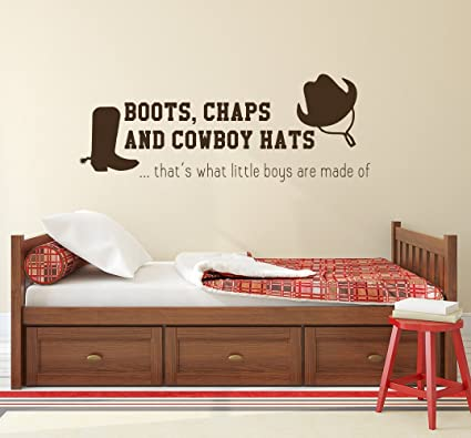 amazon com wall decal quote chaps and cowboy hats quote decal