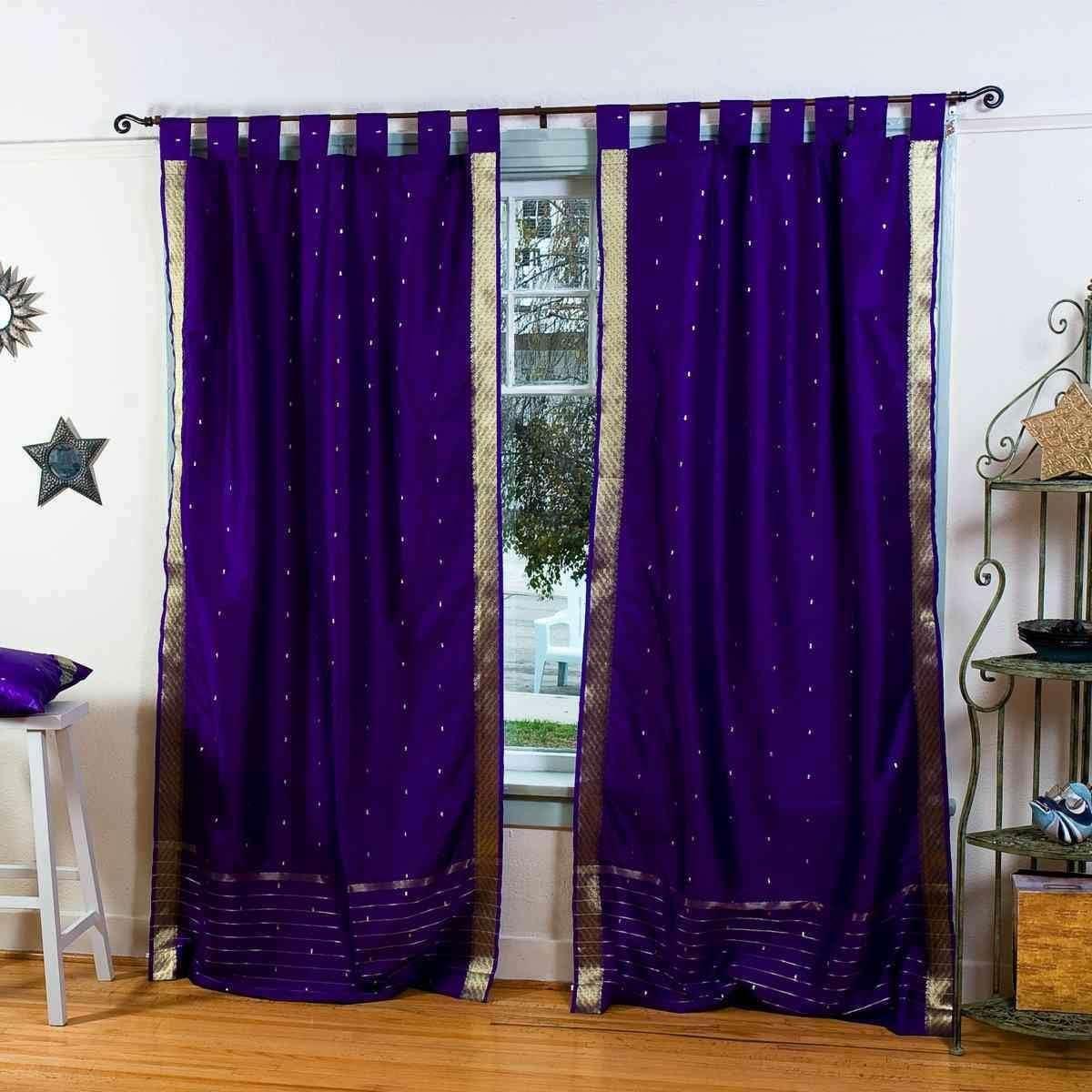 Indian Selections Lined-Purple Tab Top Sheer Sari Curtain Drape Panel – 60W x 108L – Pair