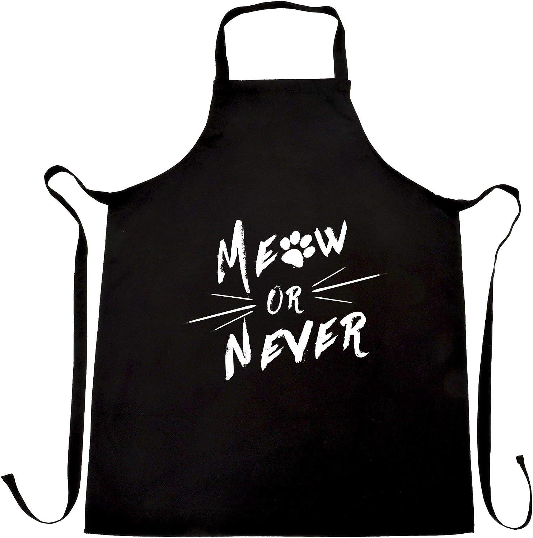 Novelty Pet Chef's Apron Meow Or Never Cat Slogan Kitten Paw Pun Joke Black One Size