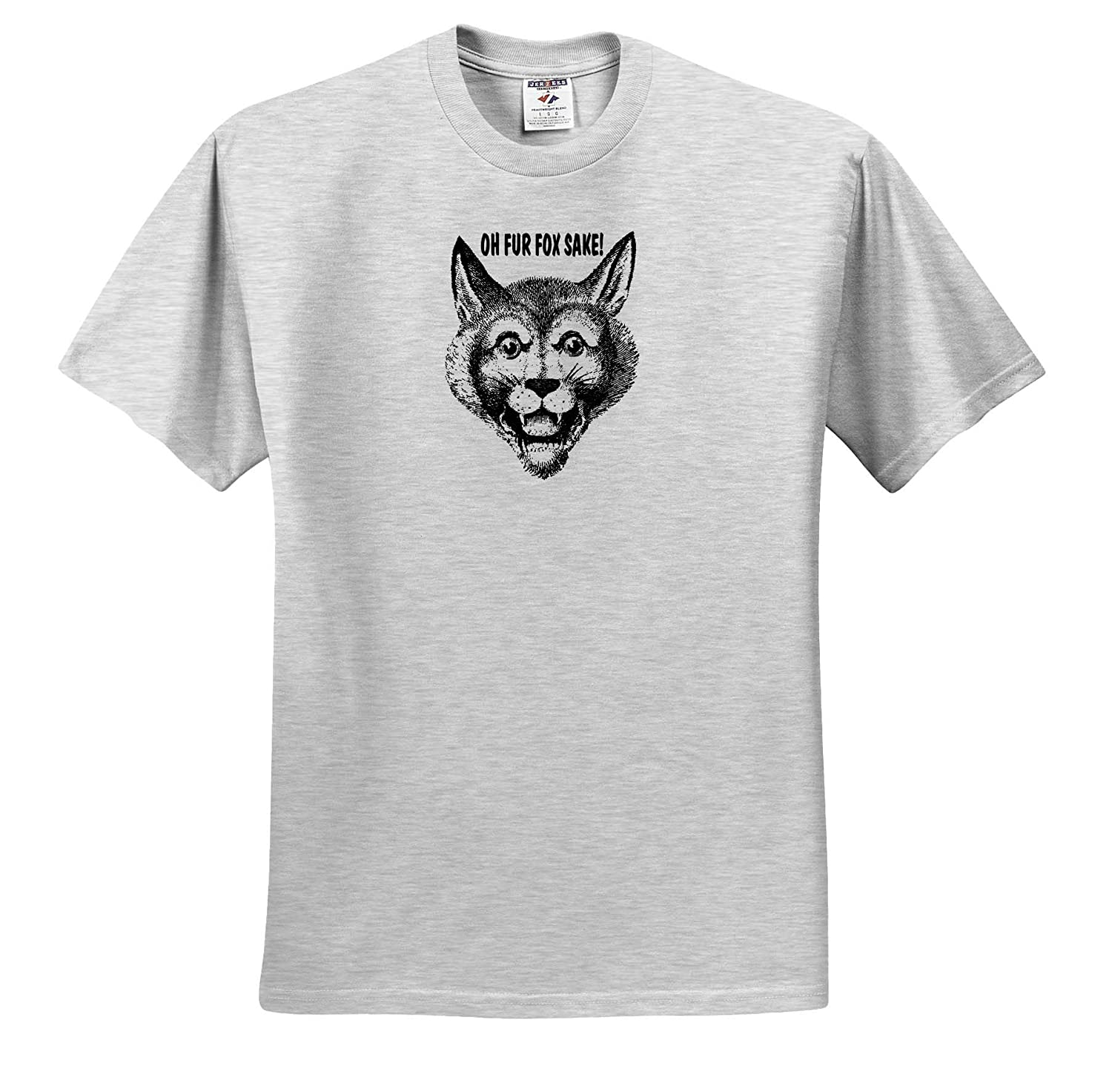 Oh Fur Fox Sake T-Shirts Funny Vintage Fox Image with Text in Black and White 3dRose Russ Billington Designs