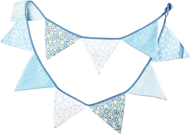 Guirnaldas de algodón tela triángulo banderas banderín cara doble bandera de la bandera para decoraciones de fiesta de cumpleaños boda decoración del empavesado de 3m 10: Amazon.es: Hogar