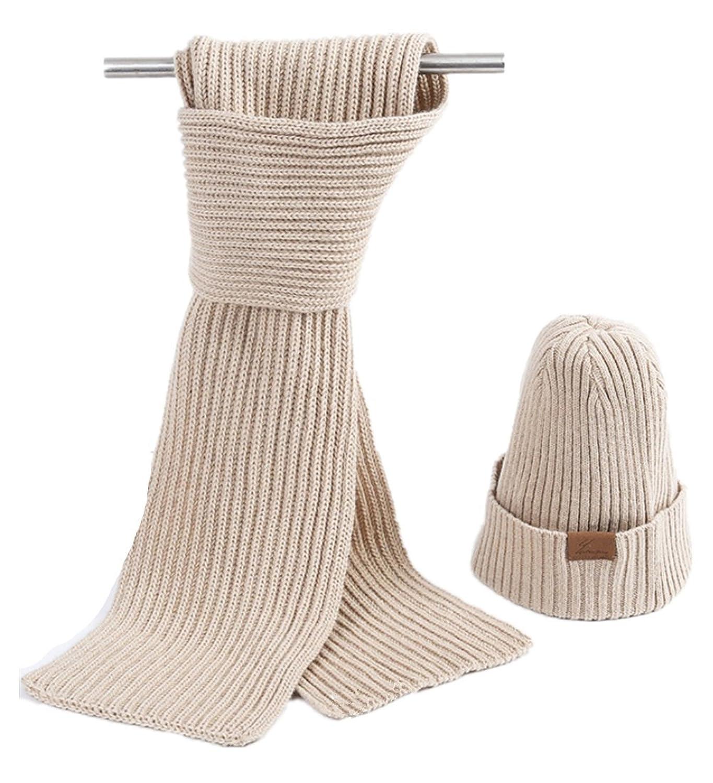 Warm Men Hat Scarf Set Wool Knit Hat Scarf
