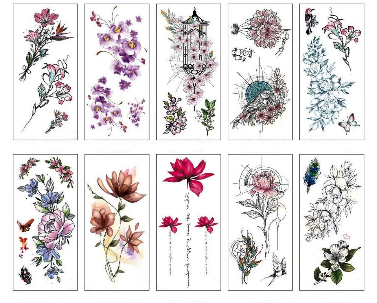 PAMO Flower Fake - Tatuajes temporales con flores de cerezo y flor ...