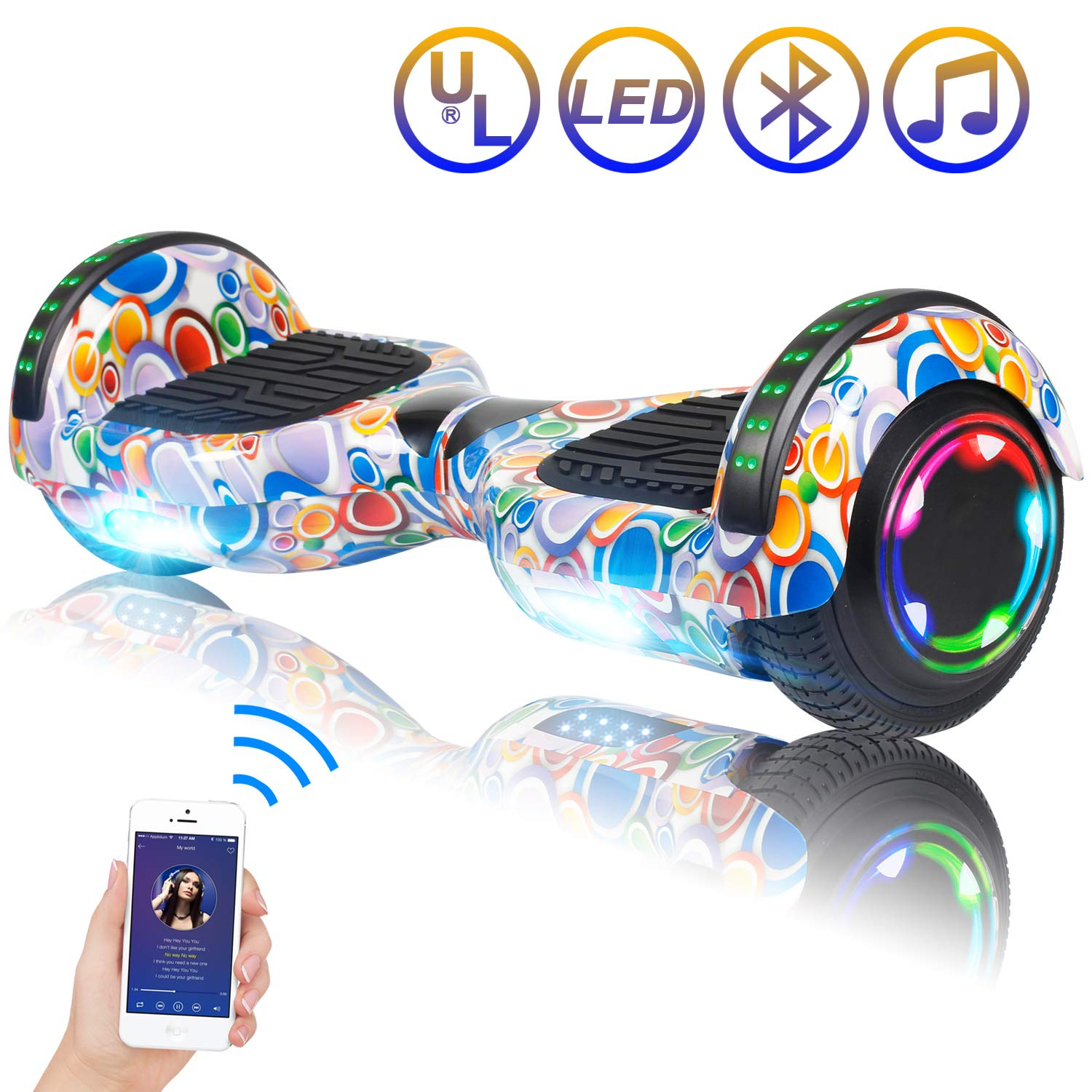 Hoverboard Self Balancing Scooter 6.5'' Two-Wheel Self Balancing Hoverboard with Bluetooth Speaker and LED Lights Electric Scooter for Adult Kids Gift UL 2272 Certified Fun Edition - Colorful Bubbles