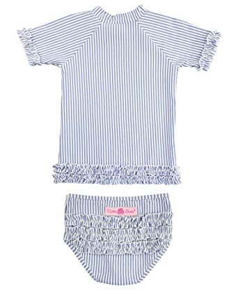 f36229526 RuffleButts Little Girls Blue Striped Seersucker Rash Guard Bikini -  Periwinkle Blue Seersucker - 2T