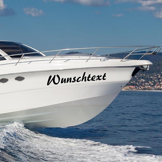 Malango Bootsaufkleber Wunschtext Beschriftung Bootsname 2 Stück Bootsbeschriftung Aufkleber Name Kennung 30 Cm Schwarz Küche Haushalt