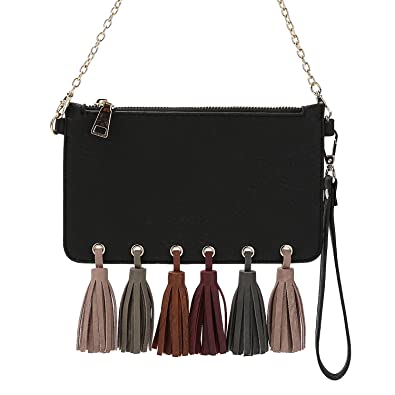 7e99c96883 Melie Bianco Suri Multi Tassel Vegan Leather Slim Clutch Wristlet Crossbody  Bag: Handbags: Amazon.com