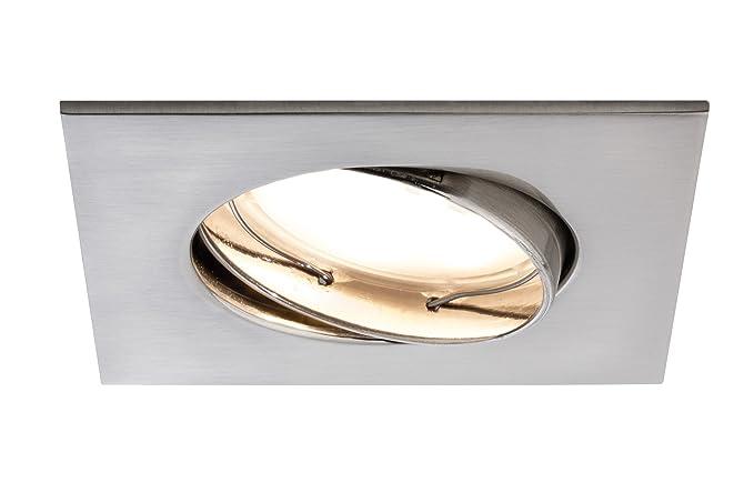 Paulmann 928.41 Premium EBL Set Coin dimmbar satiniert eckig schwenkbar LED 3x7W 2700K 230V 51mm Eisen geb/ürstet 92841 Spot Einbaustrahler Einbauleuchte
