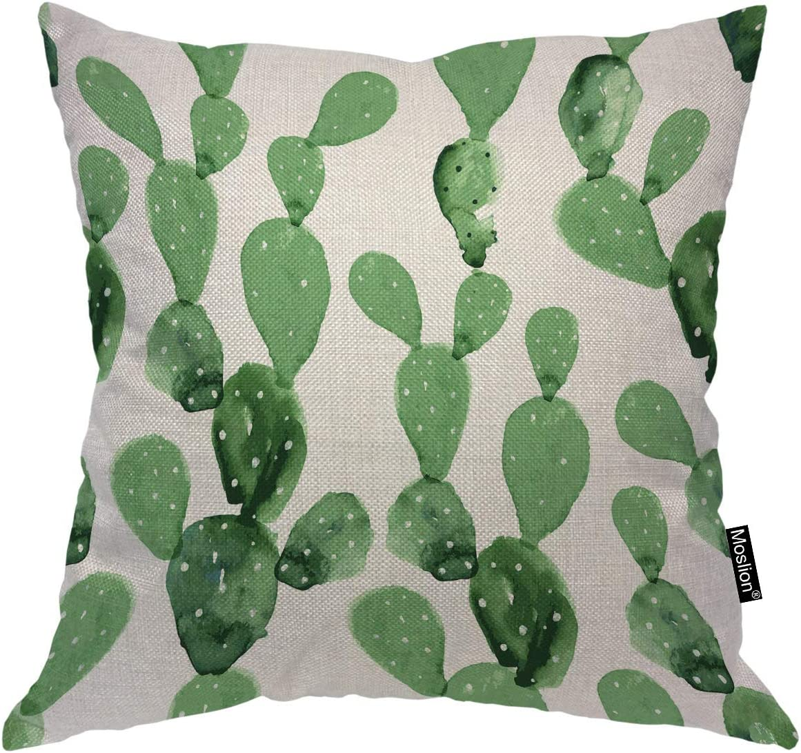 Amazon Com Moslion Cactus Pillow Case Nature Botanical Plant Hawaii Succulent Cacti Dot Throw Pillow Cover Cotton Linen For Home Sofa Decorative Square Cushion 24x24 Inch Green White Home Kitchen