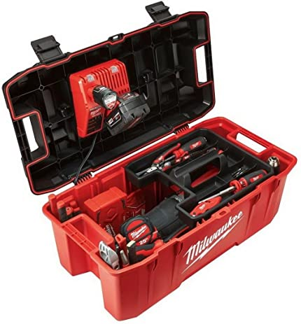 Milwaukee HUGE Tool Storage Box Hi Impact Lockable Lid Jobsite Work Power Tools Chest Organizer