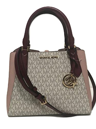 cdd03cee1d2a MICHAEL Michael Kors Kimberly Small Satchel MK Signature Crossbody Bag -  Vanilla/Pastel Pink