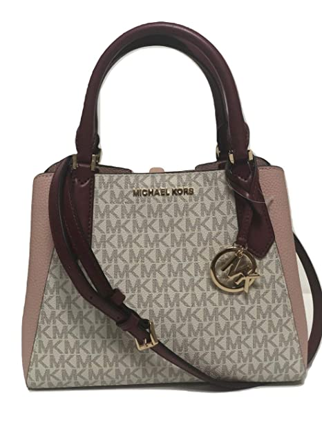 8042f54ebea4 MICHAEL Michael Kors Kimberly Small Satchel MK Signature Crossbody Bag -  Vanilla Pastel Pink  Amazon.ca  Shoes   Handbags