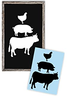 amazon com country farm stencil rooster pig cow template s 14