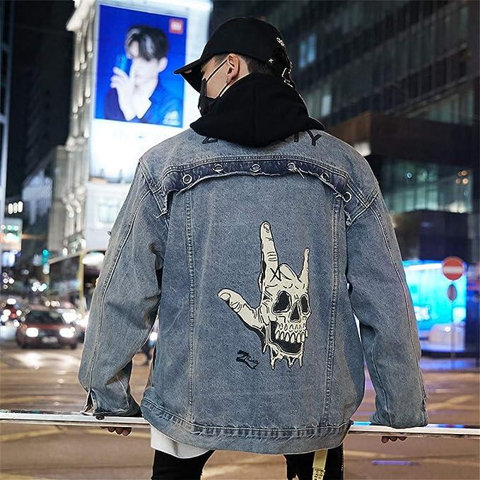 BACKBAL Mens Retro Streetwear Hip-Hop Hole Hole Denim Jacket at Amazon Mens Clothing store:
