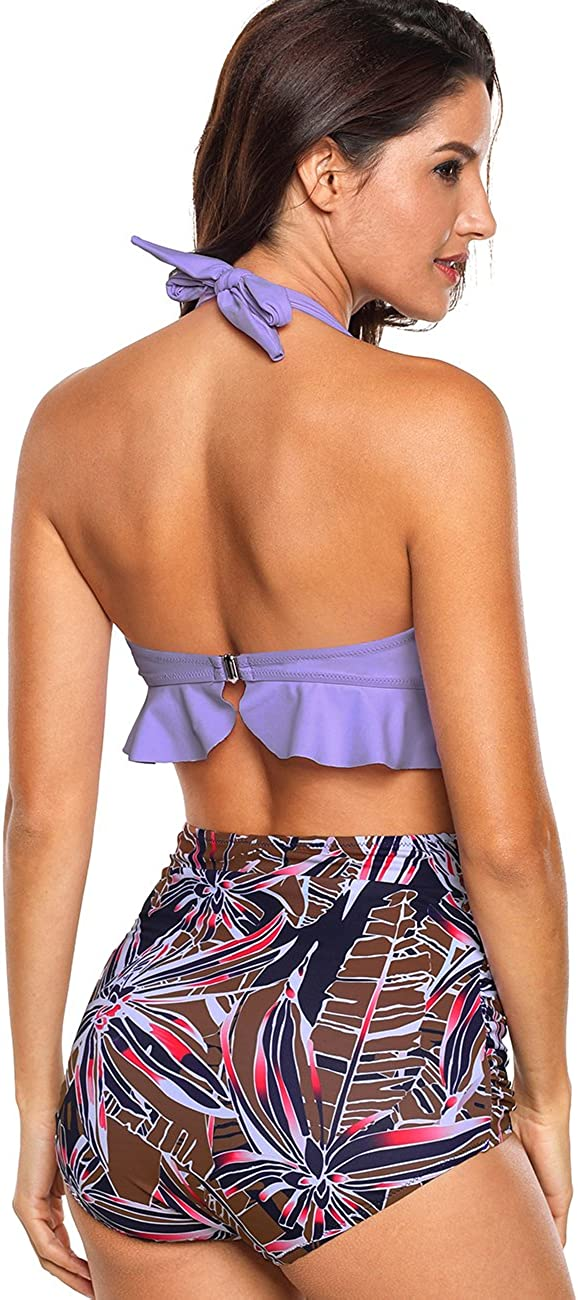 Aixy Womens Retro High Waisted Floral Two Piece Bikini Swimsuit with Flounced Underwired Top Purple(flounce)