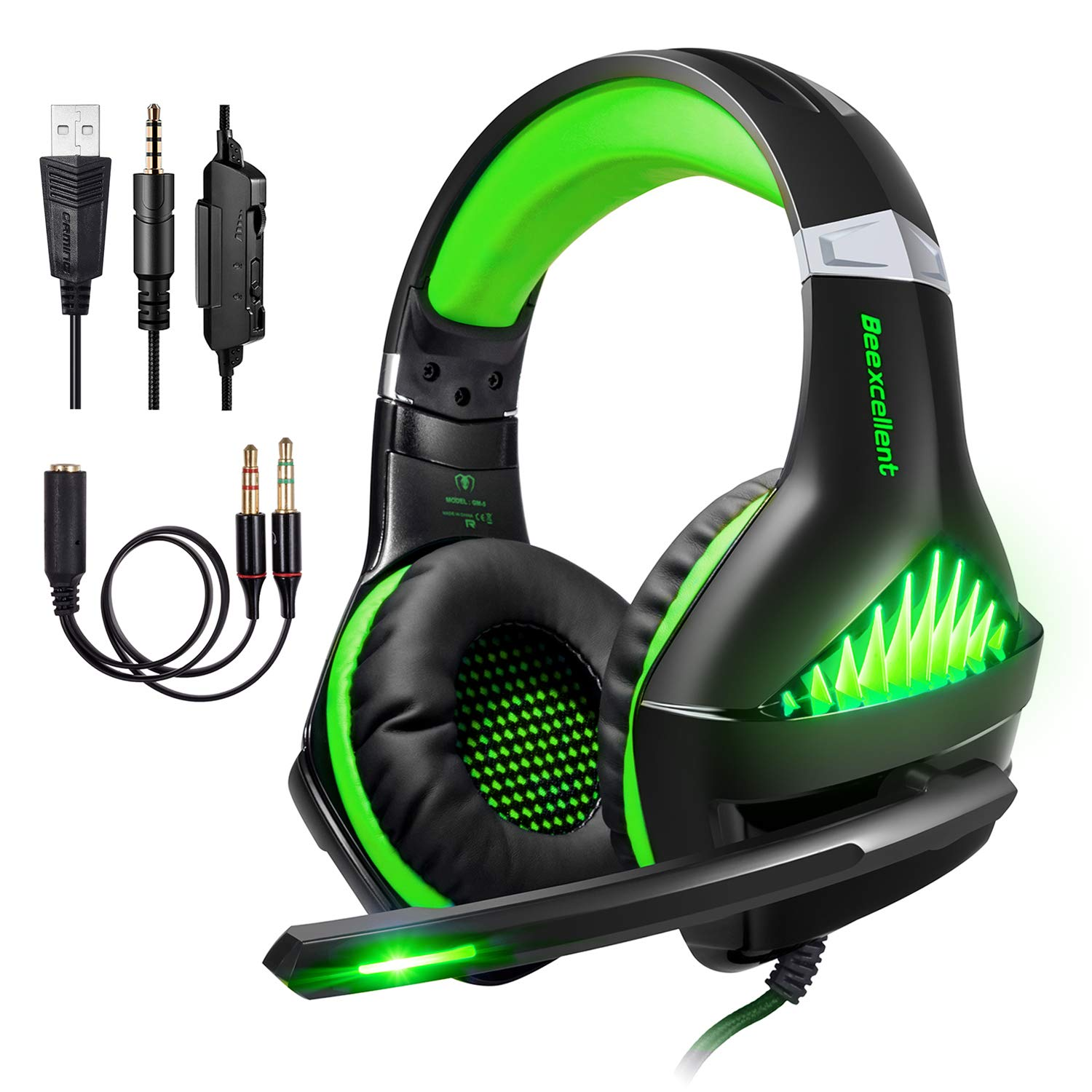 ShinePick PS4 Gaming Headset 3.5mm Wired Bass Stereo Noise Isolation Gaming Headphone with Mic and LED Lights for Xbox one, Playstation 4, Laptop, PC Green