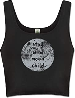 product image for Soul Flower Stay Wild Moon Child Women's Organic Cotton Fitted Crop Top Shirt, Black Ladies Cropped Tank
