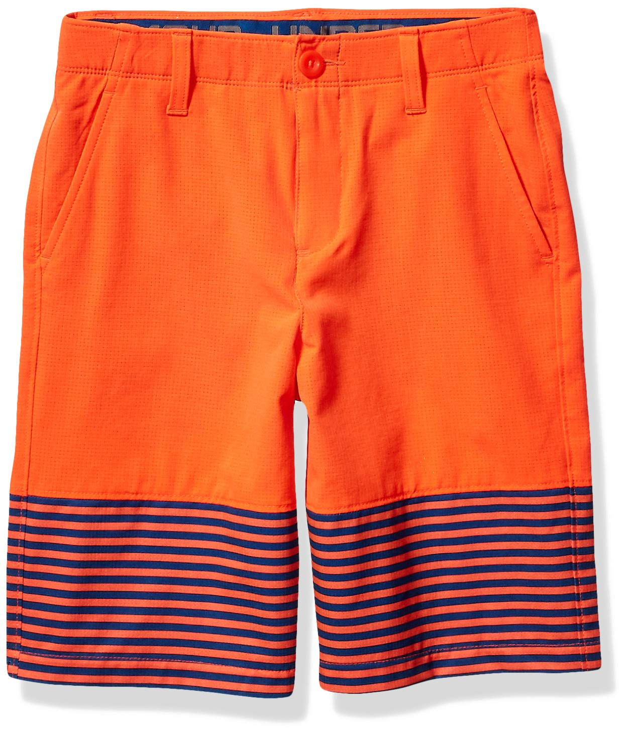 Under Armour Boys' MP Vented Nov Short, Neon Coral (985)/Neon Coral, 7