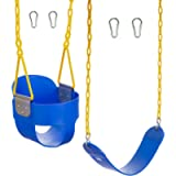 Squirrel Products High Back Full Bucket Swing with Triangle and Chain Dip and Heavy Duty Swing Seat Combo Pack with…