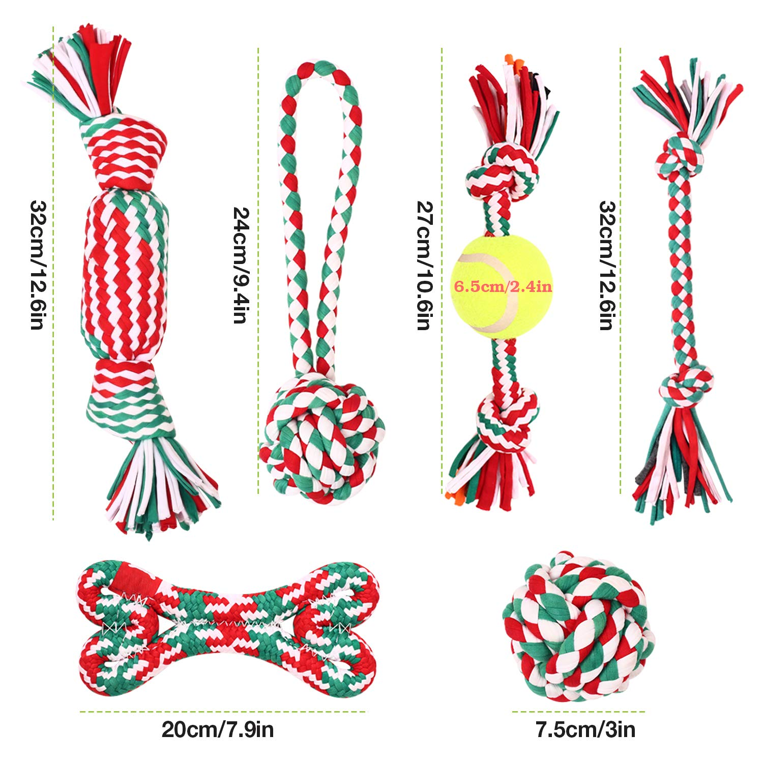 Pecute Dog Squeaky Rope Chew Toys, Cloth Rope Chew Toys 6pcs Set for Dog Molars Training, Cleaning Tooth Oral Cavity, Applicable to Small and Medium-Sized Dogs