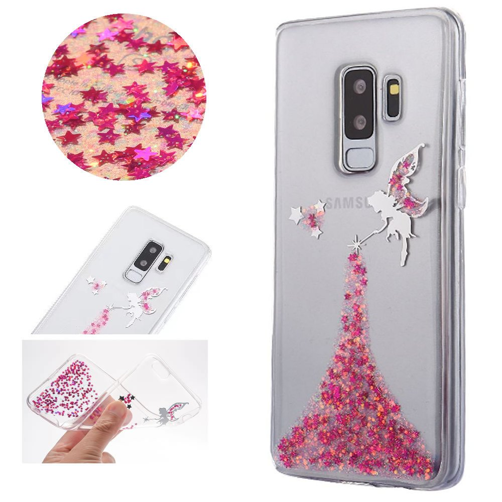 Sycode Coque Galaxy S9, Ultra Mince Luxe Glitter Transparent Beau Rose Fé e Fairy Modè le Silicone Strass Cover pour Samsung Galaxy S9 Ultra Mince Luxe Glitter Transparent Beau Rose Fée Fairy Modèle Silicone Strass Cover pour Samsung Galaxy S