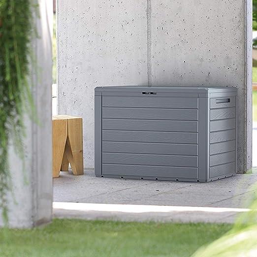 FineHome - Arcón de plástico para Cojines, 190 litros, para jardín, con Aspecto de Madera, Acolchado, Impermeable, Color Antracita: Amazon.es: Jardín