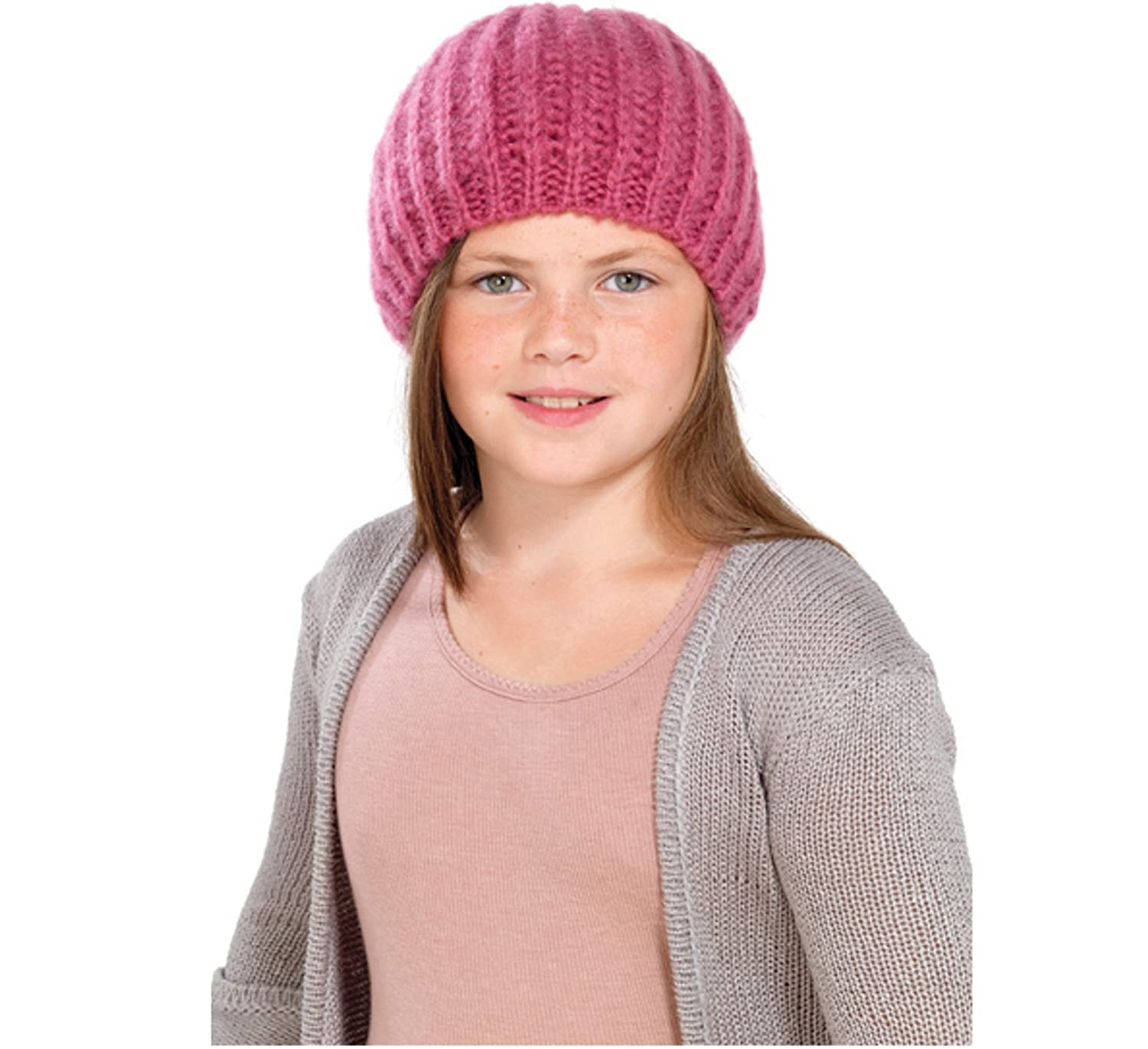 OCTAVE® Girls Knitted Beanie Beret Hat With Lurex For Added Sparkle! - In Purple