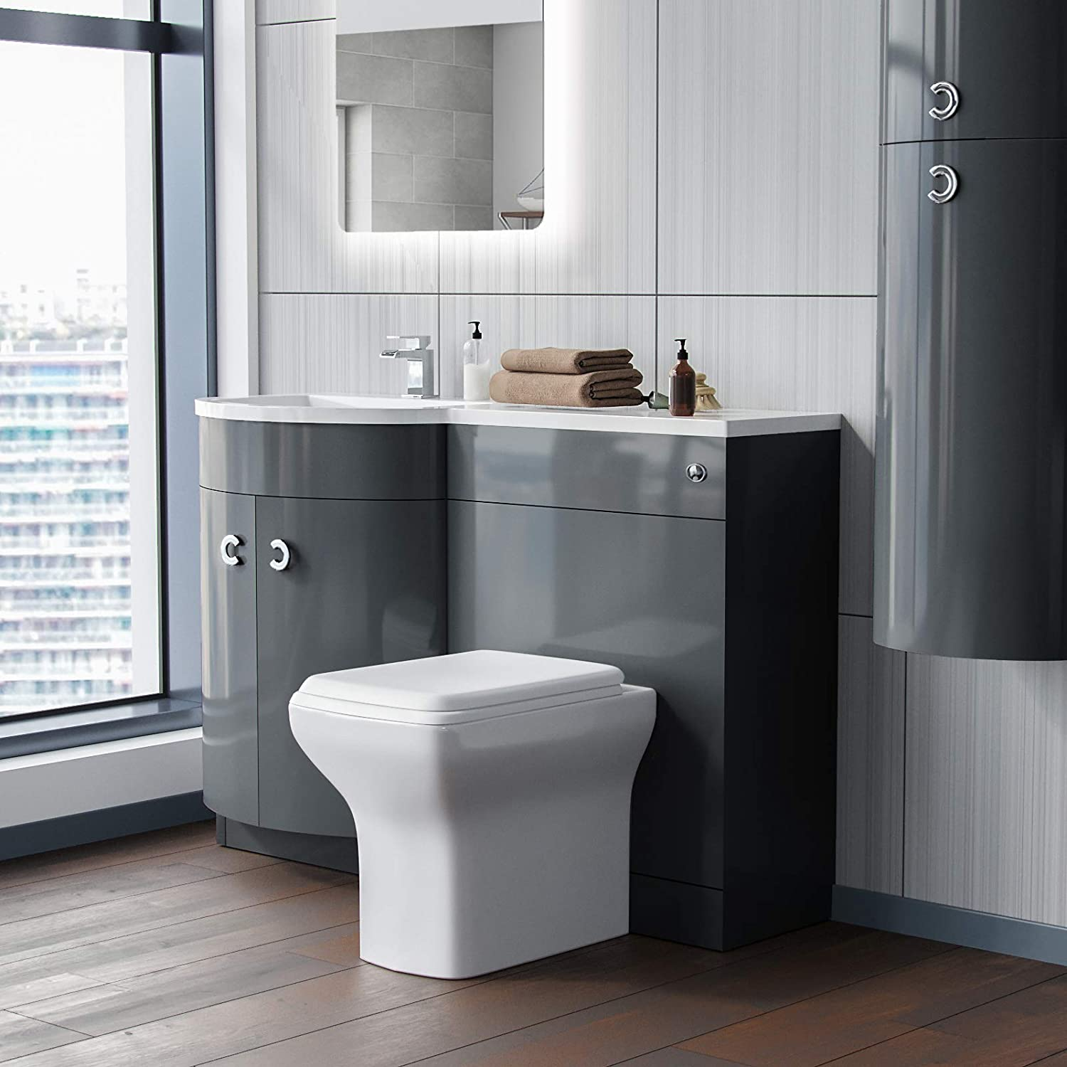 Graham P-Shape 1100mm Grey Left Hand Basin Vanity Unit Bathroom Furniture Storage Suite Longford Back to Wall WC Toilet /& Soft Close Seat Nes Home