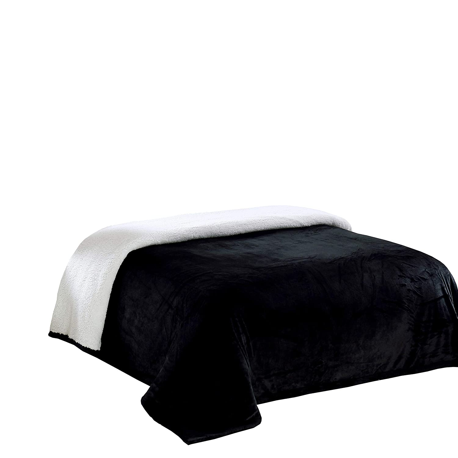 (Twin, Black) - Chezmoi Collection Micromink Sherpa Reversible Throw Blanket (Twin, Black) B00RY6VS36
