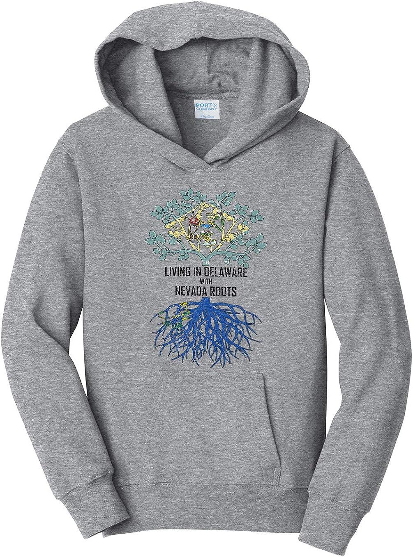 Tenacitee Girls Living in Delaware with Nevada Roots Hooded Sweatshirt