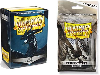 Matte Crimson 100 Count Standard Size Deck Protector Sleeves 100 Count Clear Inner Card Sleeves Dragon Shield Bundle