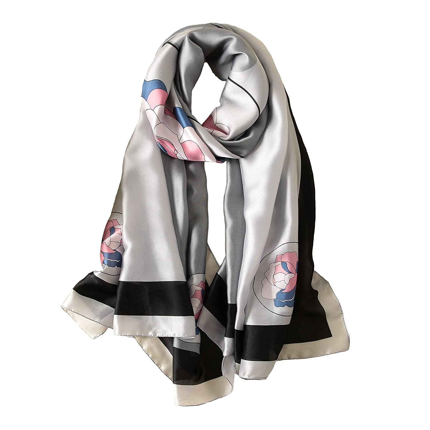 100% Mulberry Silk Scarf Women's Fashion Pattern Large Satin Headscarf Ladies Floral Satin Scarf Gift for Valentine's Day ((Flower grey))