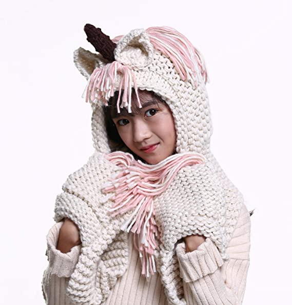 9ff72296bcd Amknn Crochet Cartoon Unicorn Winter Hat with Scarf Pocket Hooded Knitting  Beanie