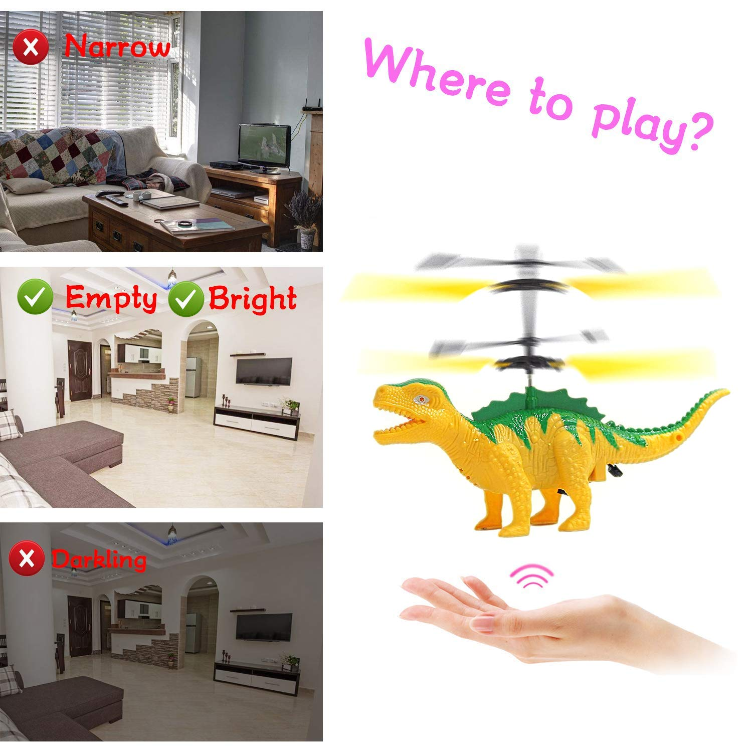 Anda RC Flying Helicopter Dinosaurs Dragon Toys for 6 Year Old Boys Girls Kids, Mini Remote and Hand Controlled Dinosaurs Helicopter for Birthday Holiday Xmas by Anda (Image #3)