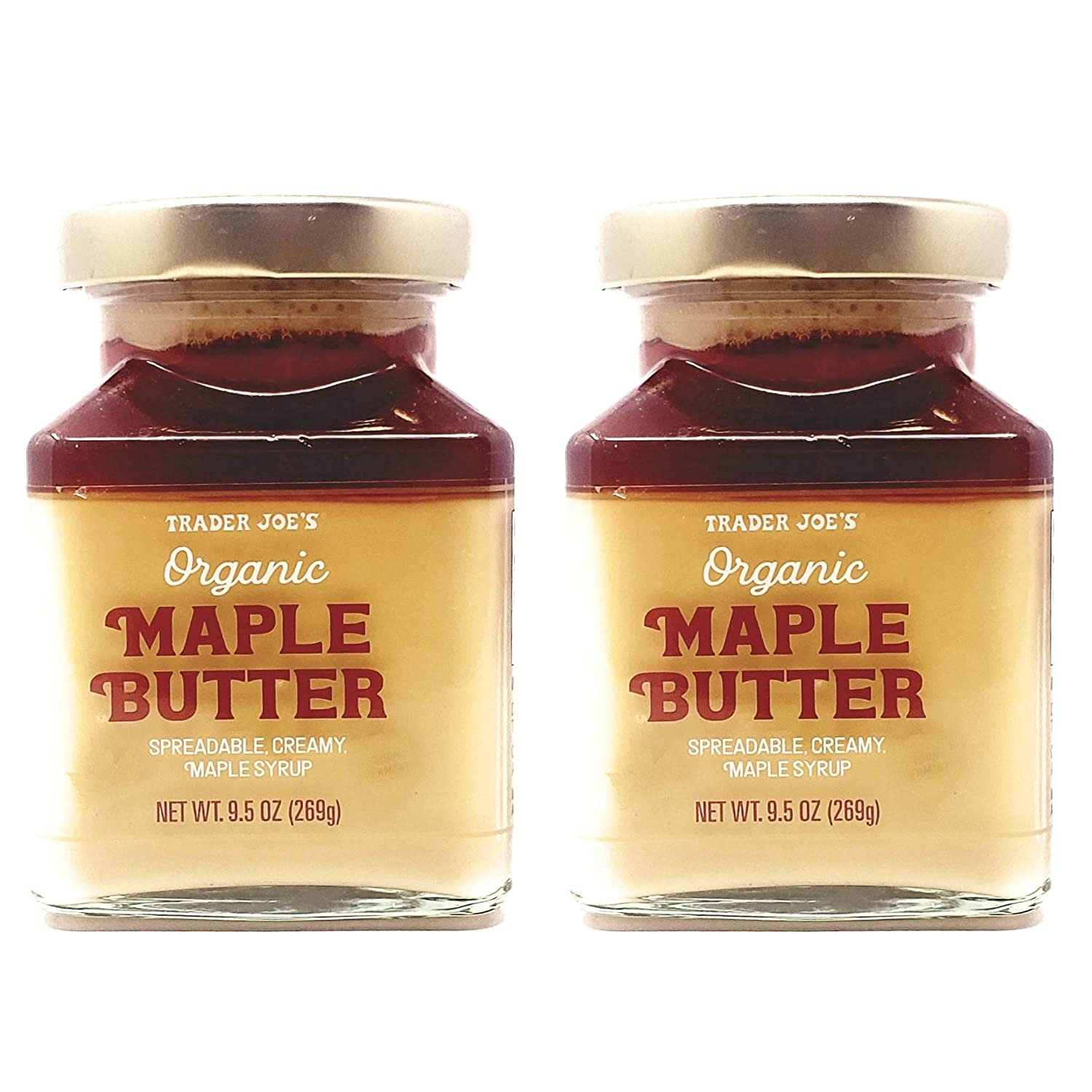 Trader Joes Organic Maple Butter - Pack of 2 Jars - 19 oz Total - Spreadable Creamy Maple Syrup