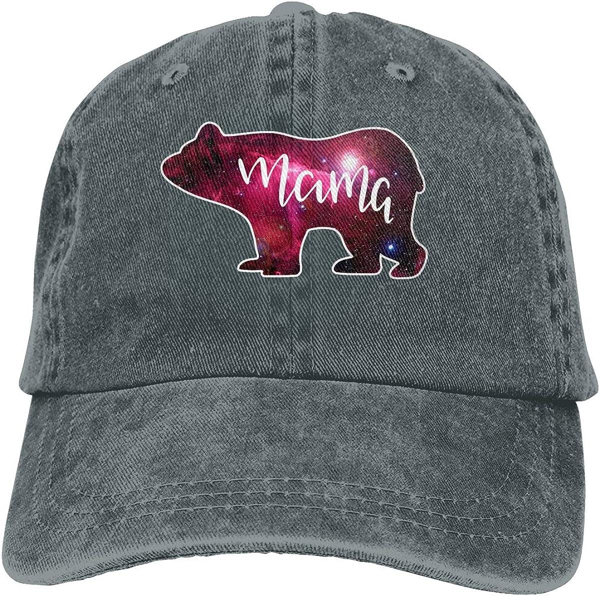Galaxy Mama Bear Vintage Unisex Washed Cap Adjustable Dads Denim Stetson Hat