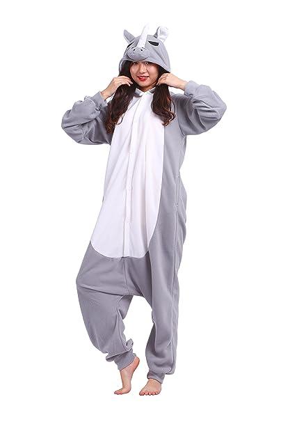 YUWELL Unisex Onesie Anime Kigurumi Pijamas Trajes Disfraz Cosplay Animales Pyjamas Ropa De Dormir, Rinoceronte