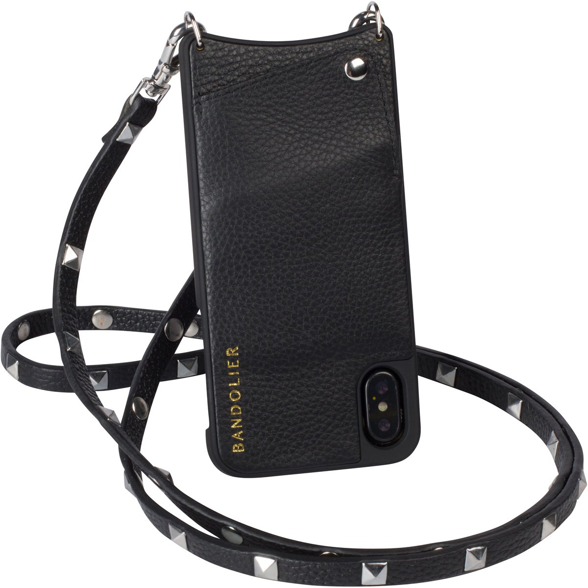 Bandolier [Sarah] Crossbody Phone Case and Wallet - Compatible with iPhone X & XS (Black/Silver)